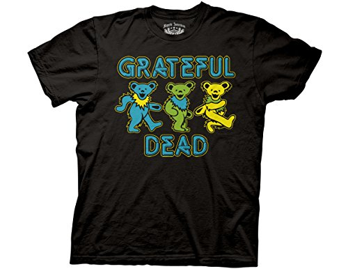 Ripple Junction Grateful Dead Three Dancing Bears Adult T-Shirt Small Black (Skeleton Jester)