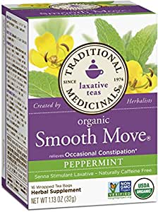 Traditional Medicinals Organic Smooth Move Peppermint Tea, 16 Tea Bags (Pack of 6)