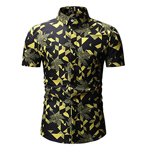 Stoota Fashion Men's Summer Mapel Print Turn-Down Collar Slim Fit Short Sleeve Shirt Top Blouse Yellow from Stoota_Clothes