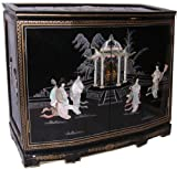 Hand Painted Black Oriental Cabinet with Mother of Pearl – Solid wood construction, brass hardware, with shelf and Glass top – 32″ H. Review