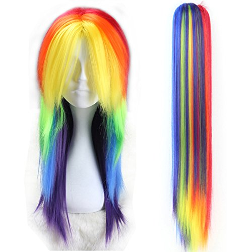 Long Fluffy Straight Hair Adult Kids Rainbow Color Cosplay Costume Wig Halloween Party Girl with Claw Ponytail -