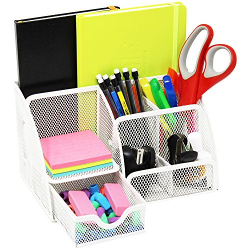 Small Desk Organizer (Mesh Office Desk Organizer with 3 Compartments + 3 Slots + Drawer – Can Be Used On Desktop | Table | Counter in Kitchen or Work Space White)