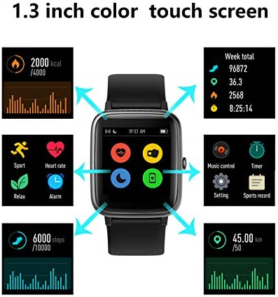 HAFURY Smart Watch Activity Fitness Tracker Watch for Men Women, Smartwatch for Android & iOS, Fitness Watch Heart Rate Monitor, IP68 Swimming Waterproof Watch with Calories Step Sleep Tracker, Black 2