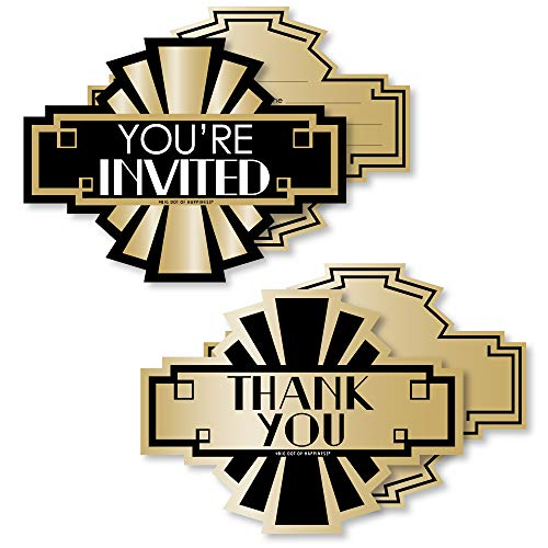 Roaring 20's - 20 Shaped Fill-In Invitations and 20 Shaped Thank You Cards Kit - 1920s Art Deco Jazz Party Stationery Kit - 40 Pack