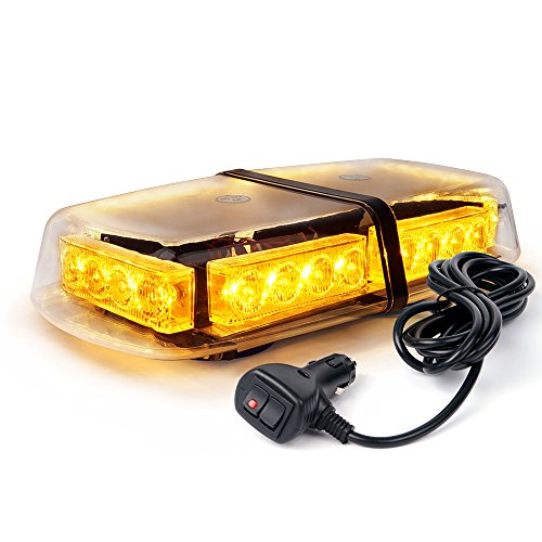 Xprite Amber 24 LED 12W Emergency Warning Flashing Rooftop Strobe Light with Magnetic Base for Snow Plow Cars Trucks ()