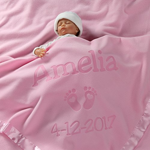 Personalized Newborn Gifts for Baby Girls, Boys, OR Parents - (36 x 36 inch) Satin Trim Custom Blanket with Name Plus Hearts and Feet Design - Add Birth Date, Weight (Pink, Blue - Long Text)]()