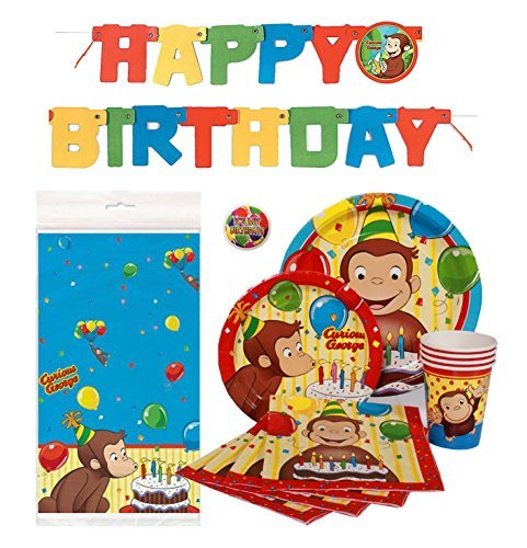 Curious George Deluxe Children's Birthday Party Supplies Pack with Decorations - Serves 16 (Birthday Party Monkey Supplies)