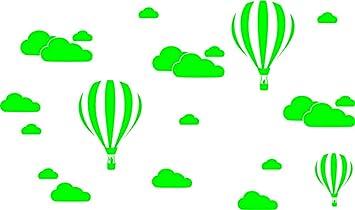 Wolken U0026 Hot Air Luftballons Kinderzimmer Kinder Kind Zimmer Vinyl Wand  Kunst Aufkleber Aufkleber, Grün
