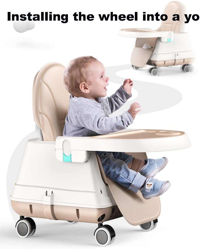 ZZXHV Soft Leather Foldable Fully Adjustable Baby Highchair Child Feeding High Chair Compact Soft Leather,Khaki