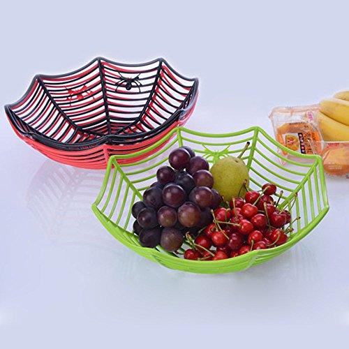 JUNGSON--Candy Basket Halloween Spider Web Bowl Kitchen Spider Web Fruits Party Decor New