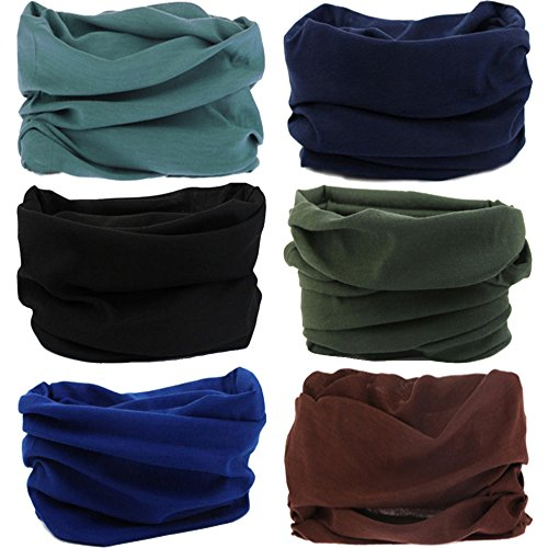 - Multifunctional Stretchable Sport & Casual Headwear, Headband Scarf Bandanna Headwrap Mask Neckwarmer & More 12-in-1, 6PC.Solid Color Series