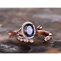 Alexandrite Engagement Ring Set Oval Color Changing Alexandrite Ring Silver Unique Art Deco Wedding Band Rose Gold Plated Criss Cross Ring