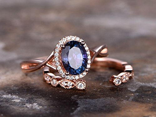 Alexandrite Engagement Ring Set Oval Color Changing Alexandrite Ring Silver Unique Art Deco Wedding Band Rose Gold Plated Criss Cross Ring (Alexandrite Wedding Set)