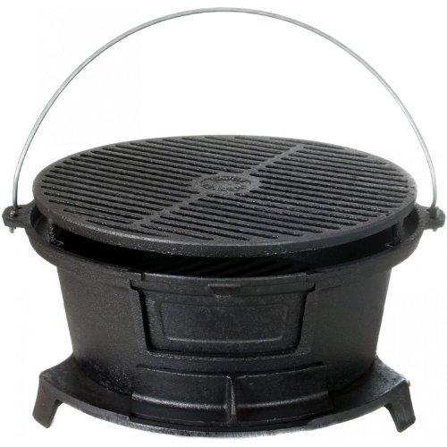Cajun Cookware Round Seasoned Cast Iron Charcoal Hibachi Grill - Gl10447