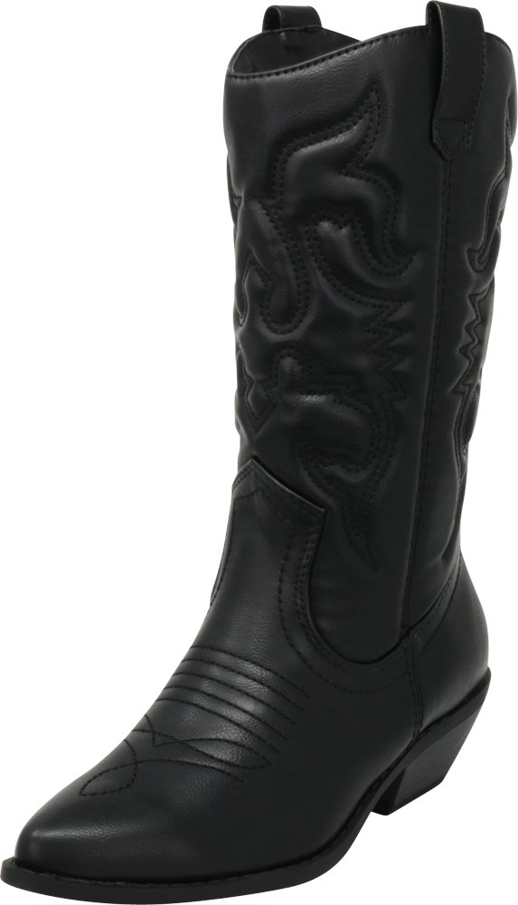 Cambridge Select Women's Cowboy Western Pointed Toe Knee High Pull On Tabs Boots,8.5 B(M) US,Black Pu