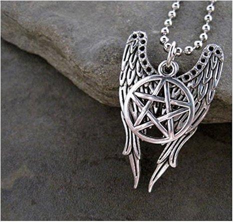 Pentagram & Castiel Wings Combo Necklace - Supernatural Tv Series Inspired - Memorabilia Fan Collectors Item - Novelty Fashion Wear Jewelry]()