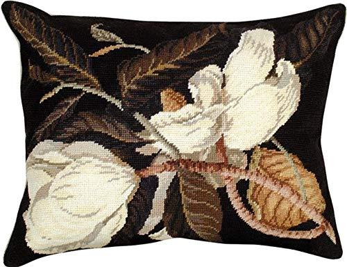 EuroLuxHome Throw Pillow Needlepoint Magnolia 16x20 Wool Polly Insert Cotton Velvet ()