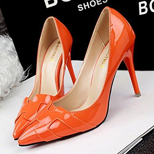 Minetom Mujer Primavera Atractivo Charol Pumps High Heel Shoes Stiletto Trabajo Zapatos de Tacón Moda Zapatos Naranja