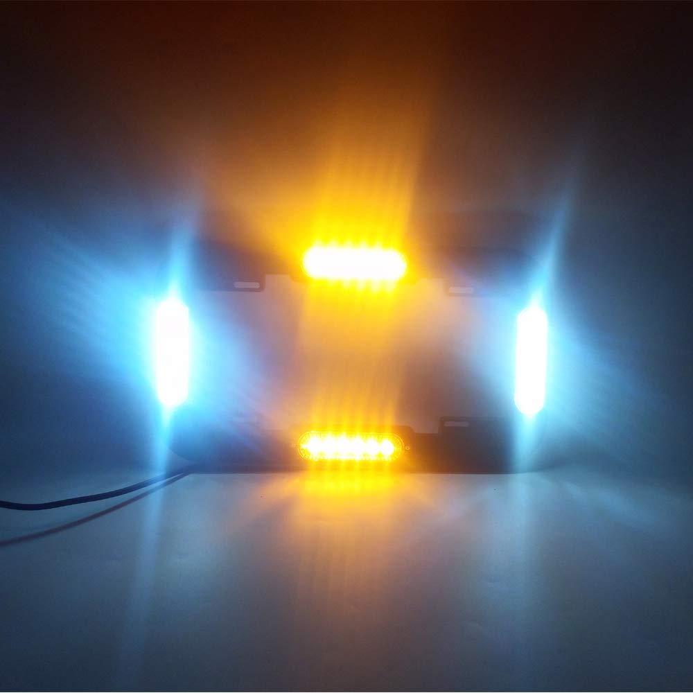 AutronLEDLight 13.5 License Plate Strobe Light 24 W LED Emergency Traffic Adviser Warning Flash Strobe Lights Red//White