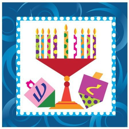 Chanukah Beverage Paper Napkins , Disposable Napkins , Decorated with Hanukkah Menorah and Dreidels - Pack of 75