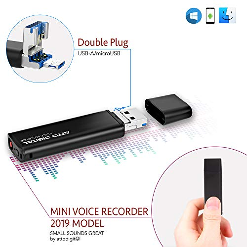 Slim Voice Activated Recorder - USB Flash Drive | 26 Hours Battery | 8GB - 94 Hours Capacity | 512 Kbps Audio Quality | Easy to Use USB Memory Stick Sound Recorder | lightREC by aTTo Digital ()