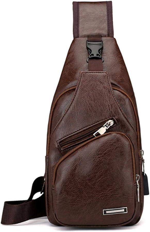 arthomer Bolso Hombres de Pecho, CueroCrossbody Bolso de Hombro Bolsos de Mochila Mochila Messenger Bag Daypack para el Negocio Casual Sport Hiking Travel