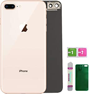 OEM Replacement Back Glass Cover Back Battery Door Installed Camera Frame Lens Replacement for iPhone 8 Plus (Gold)
