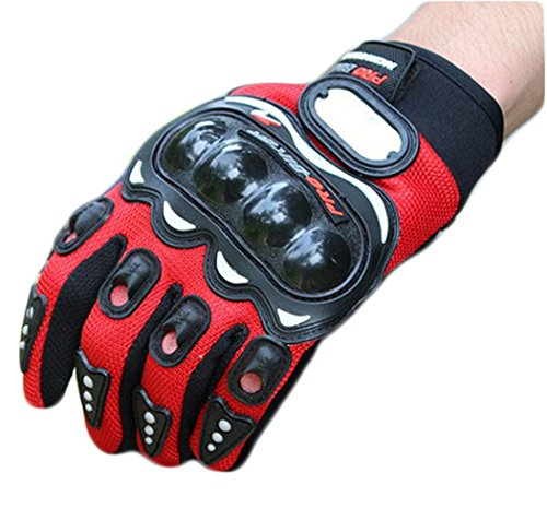Eternal Heart Carbon Fiber Motorcycle Motorbike Cycling Racing Full Finger Gloves (Red, M8-8.5cm (3.1-3.3in))