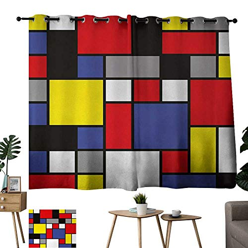 - Large Size Perforated Curtains Art Mondrianesque Pop Design with Colorful Squares Lively Colors Geometric Shapes Print Multicolor Outdoor Patio Curtains W84 xL72