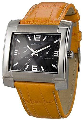 P25771-3 Reloj Racer Hombre, multifunción, caja de acero, correa de cuero, garantía 2 años.: Amazon.es: Relojes