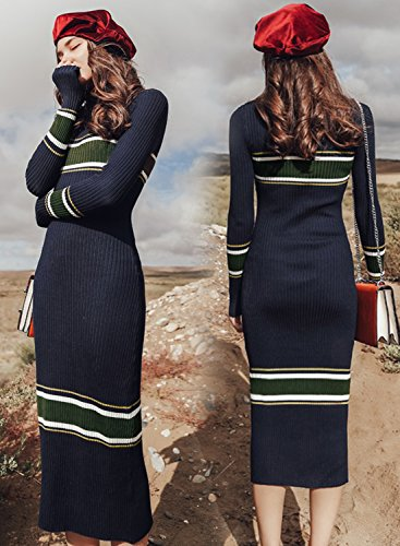 Long Knit Dress Futurino Sleeve Bodycon Sweater Striped Midi Navy Women's Neck Mock txqqYwFUB
