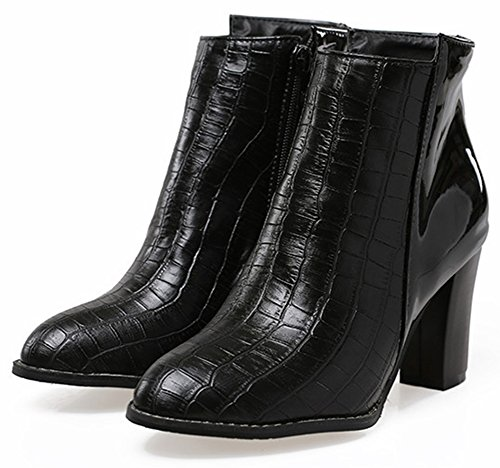 Ankle Alligator Heel Black Sexy Women's Zipper Almond Summerwhisper Booties Side Toe High Block 6C4wqxOv