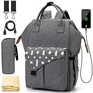 Diaper Bag Backpack for Dad Mom, Waterproof Nappy Bag + Changing Mat - Gray