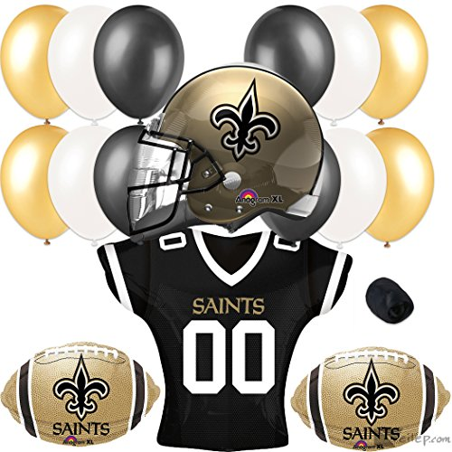 New Orleans Saints Football Party Helmet Jersey Balloons 17pc Pack -