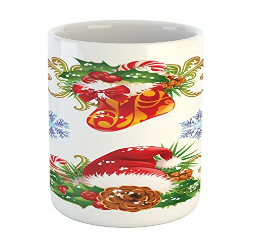 Ambesonne Christmas Mug, Classical Traditional Design with Stocking and Santa Claus Hat Mistletoe Snowflakes, Printed Ceramic Coffee Mug Water Tea Drinks Cup, Multi ()