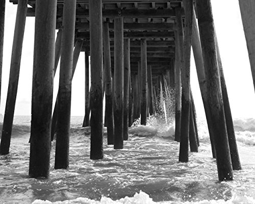 Black and White Beach Wall Decor, Pier Photography Print, Virginia Beach Pier Boardwalk Picture, Under Pier Ocean Wave Splash Photo Gift for Men by Natural Photography Spa