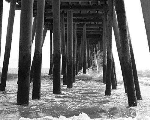Black and White Beach Wall Decor, Pier Photography Print, Virginia Beach Pier Boardwalk Picture, Under Pier Ocean Wave Splash Photo Gift for ()