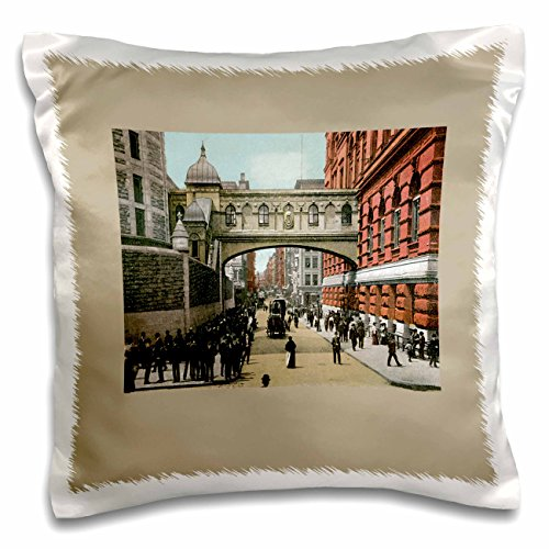 BLN Vintage New York City Collection - Walkway over Street in New York City with Horse and Carriage - 16x16 inch Pillow Case (pc_170449_1) (Victorian Walkway)