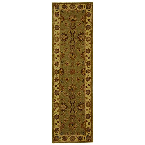Safavieh Heritage Collection HG343A Handcrafted Traditional Oriental Green and Gold Wool Runner (2