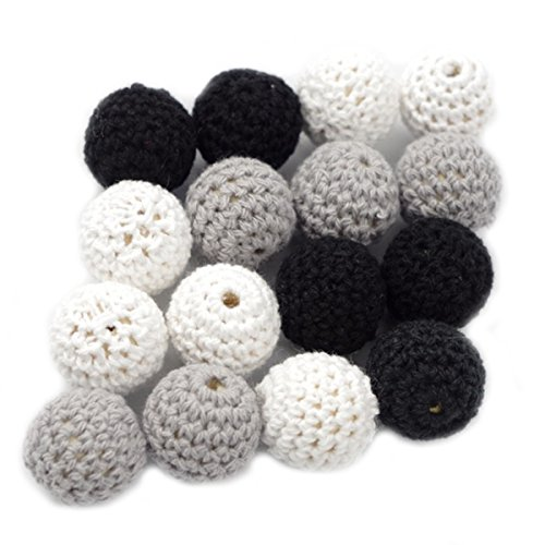 Baby Love Home Wooden Teether Crochet Beads 20pcs 20mm Round Beads Black White Grey Series Wooden Teething Jewelry Unfinished Balls