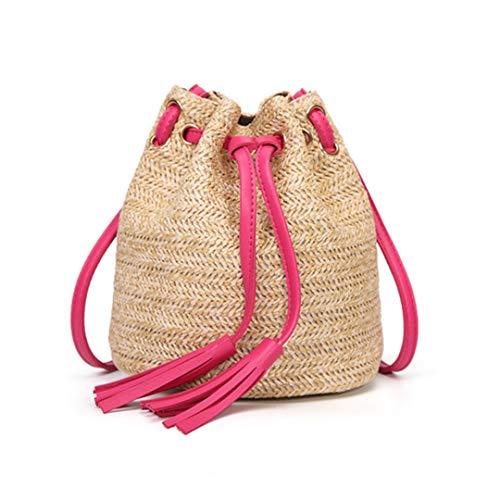 - Women Casual BeacHandbag Straw Bags Mini Tassel Braided Wicker Bags Summer Rattan Handbag Fringe Drawstring Bucket Bag Hot Pink L19cm W15cm H19cm