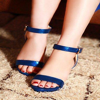 LvYuan Mujer Sandalias Semicuero PU Verano Otoño Paseo Hebilla Tacón Robusto Dorado Negro Melocotón Azul 5 - 7 cms Blue