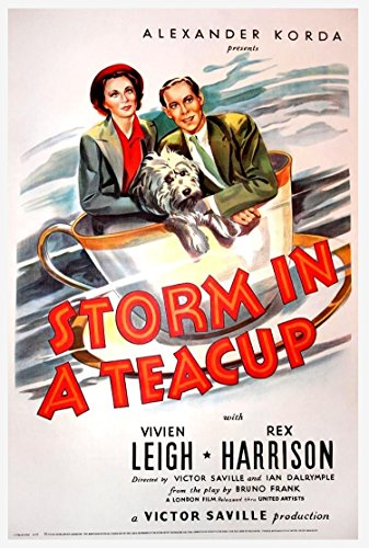 STORM IN A TEACUP (1937) One sheet poster Vivien Leigh, Rex Harrison and dog VG