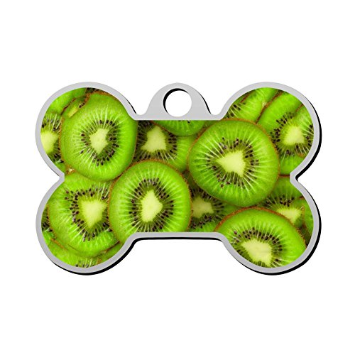 (Pet Dog & Cat ID Tag Kiwi Fruit Slices Personal Custom Stainless Steel Bone with Pet Name & Contact)