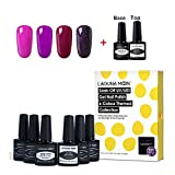 Lagunamoon Gel Nail Polish with Base and Top Coat Kit Nail Starter Set Nail Art Manicure Pedicure 4pcs - Purple Quartett