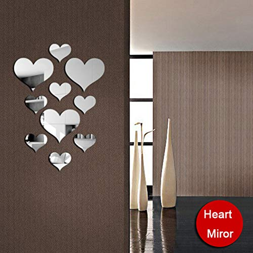 YINASI 10pcs 3D Acrylic Heart-Shaped Mirror Wall Stickers, Plastic Removable Heart Art Decor Wall Poster Living Room Home Decoration(Silver)