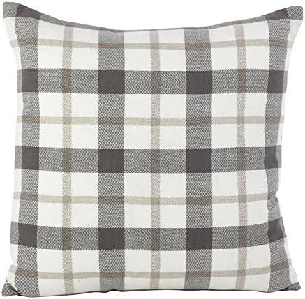 SARO LIFESTYLE Classic Plaid Pattern Cotton Down Filled Throw Pillow, 20 x 20 , Grey