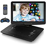 "Jekero 17.9"" Portable DVD Player with 15.6"" HD Swivel Screen, Personal DVD Player with 5 Hrs Rechargeable Battery, Mobile DVD Player for Kids, Home, Sync to TV, Support USB/SD & Multiple Disc Formats"