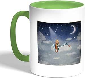 كوب سيراميك للقهوة بتصميم حكاية قبل النوم، لون اخضر