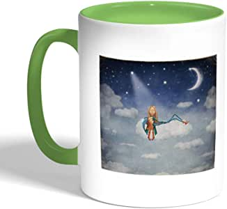 A tale before bedtime Printed Coffee Mug, Green Color